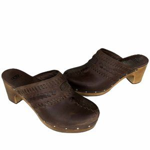 UGG Australia Vivica Brown Leather Mule Clogs
